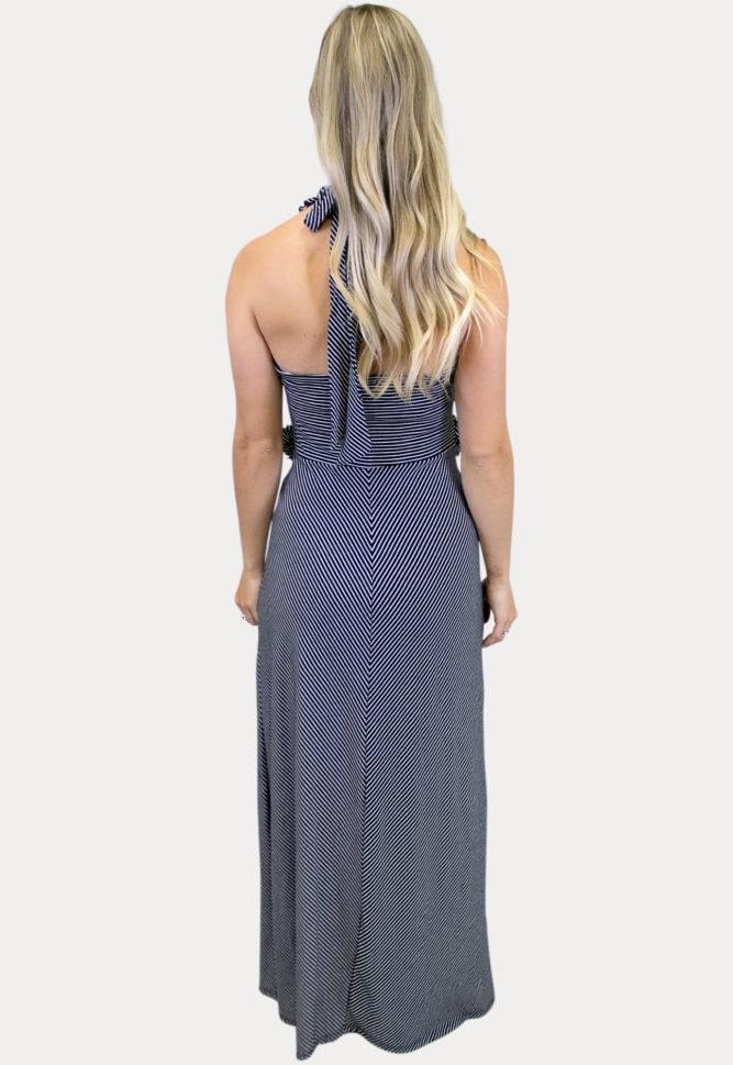 sleeveless striped maternity maxi