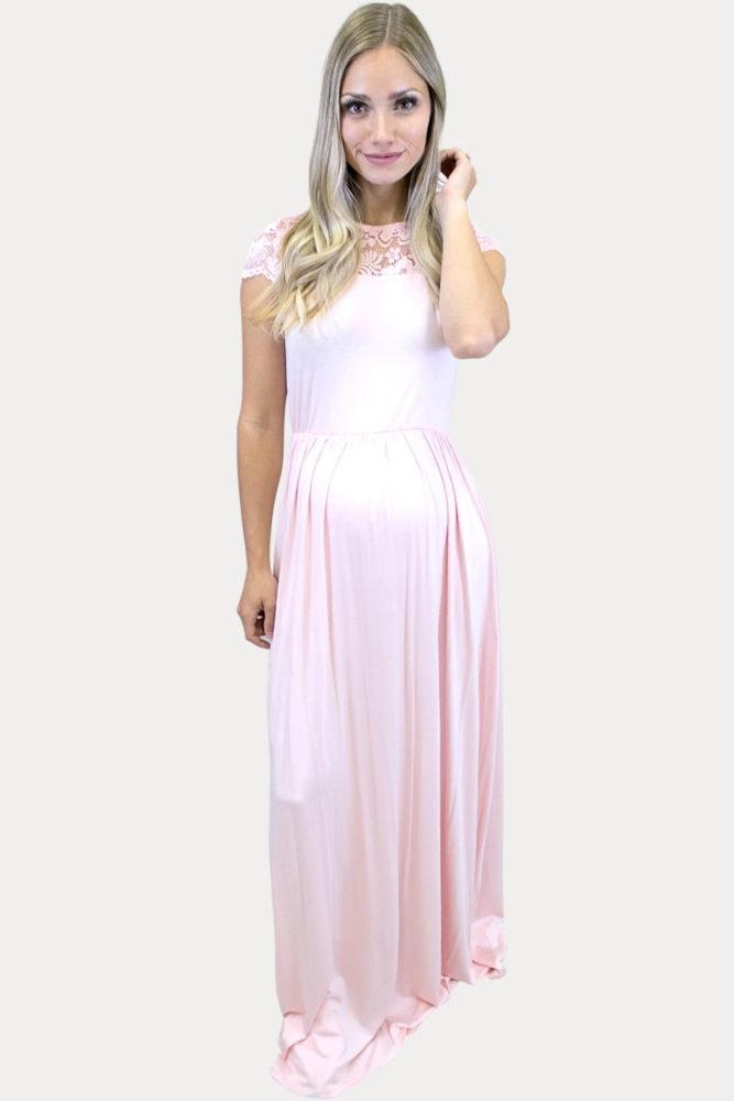 high neck maternity maxi dress