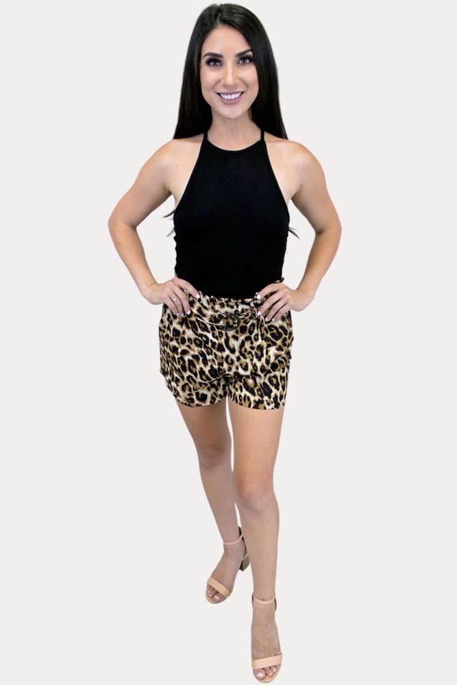 women's leopard print shorts