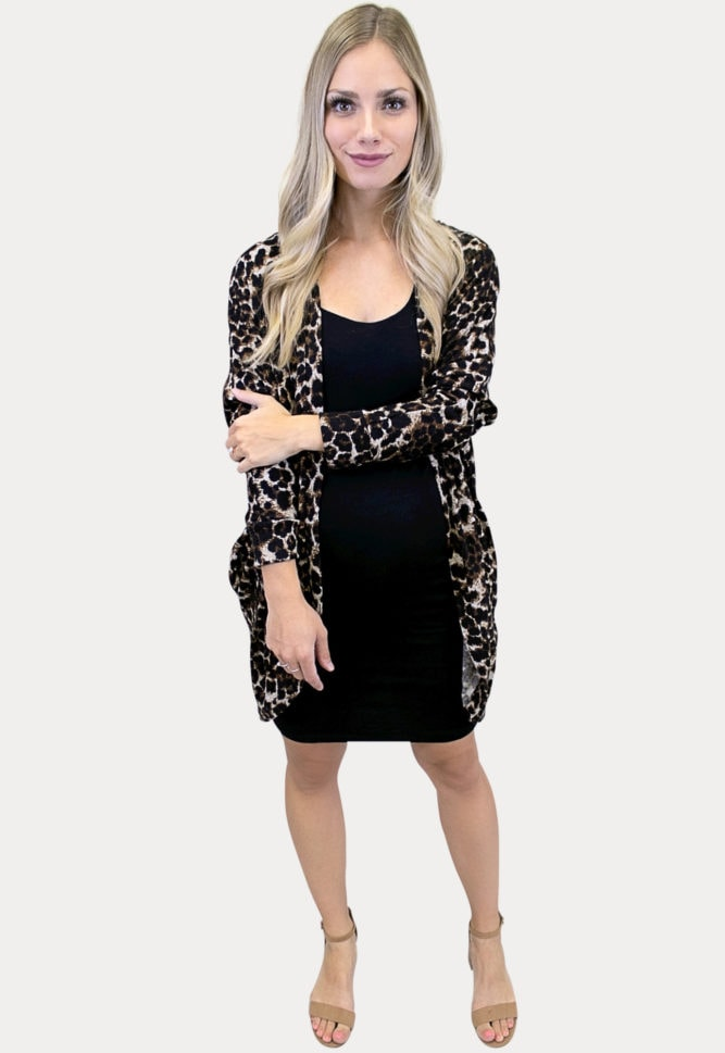 leopard print maternity cardigan