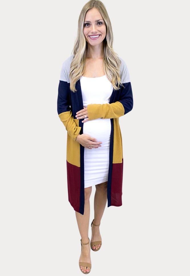 maternity color block cardigan