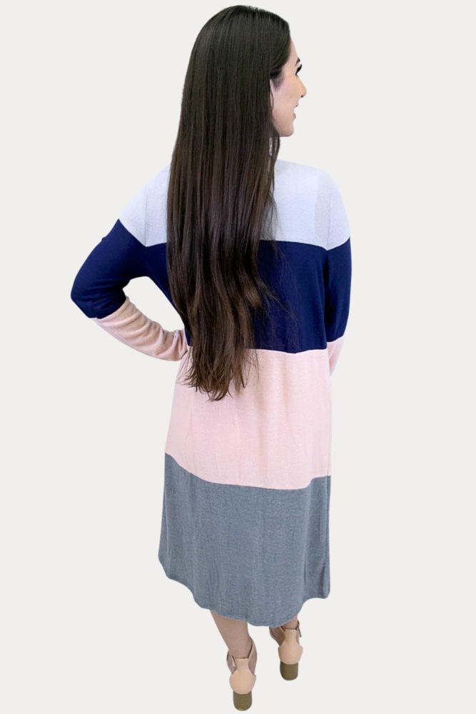 long sleeve color block cardigan