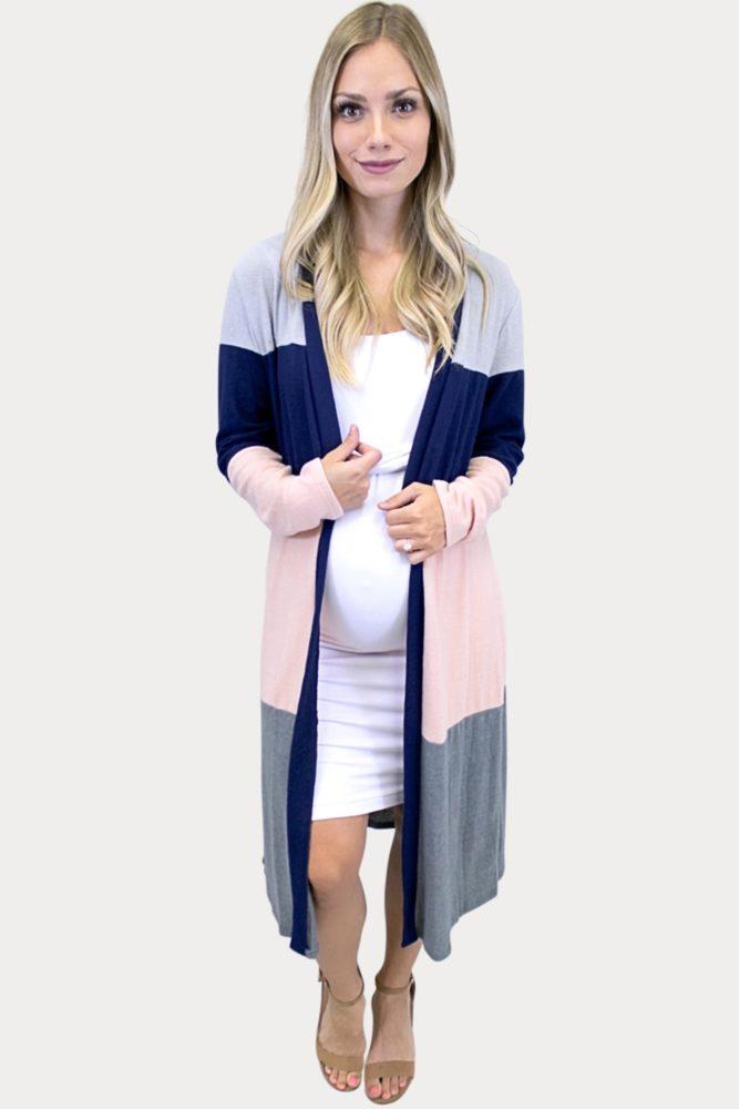 multi-colored maternity cardigan