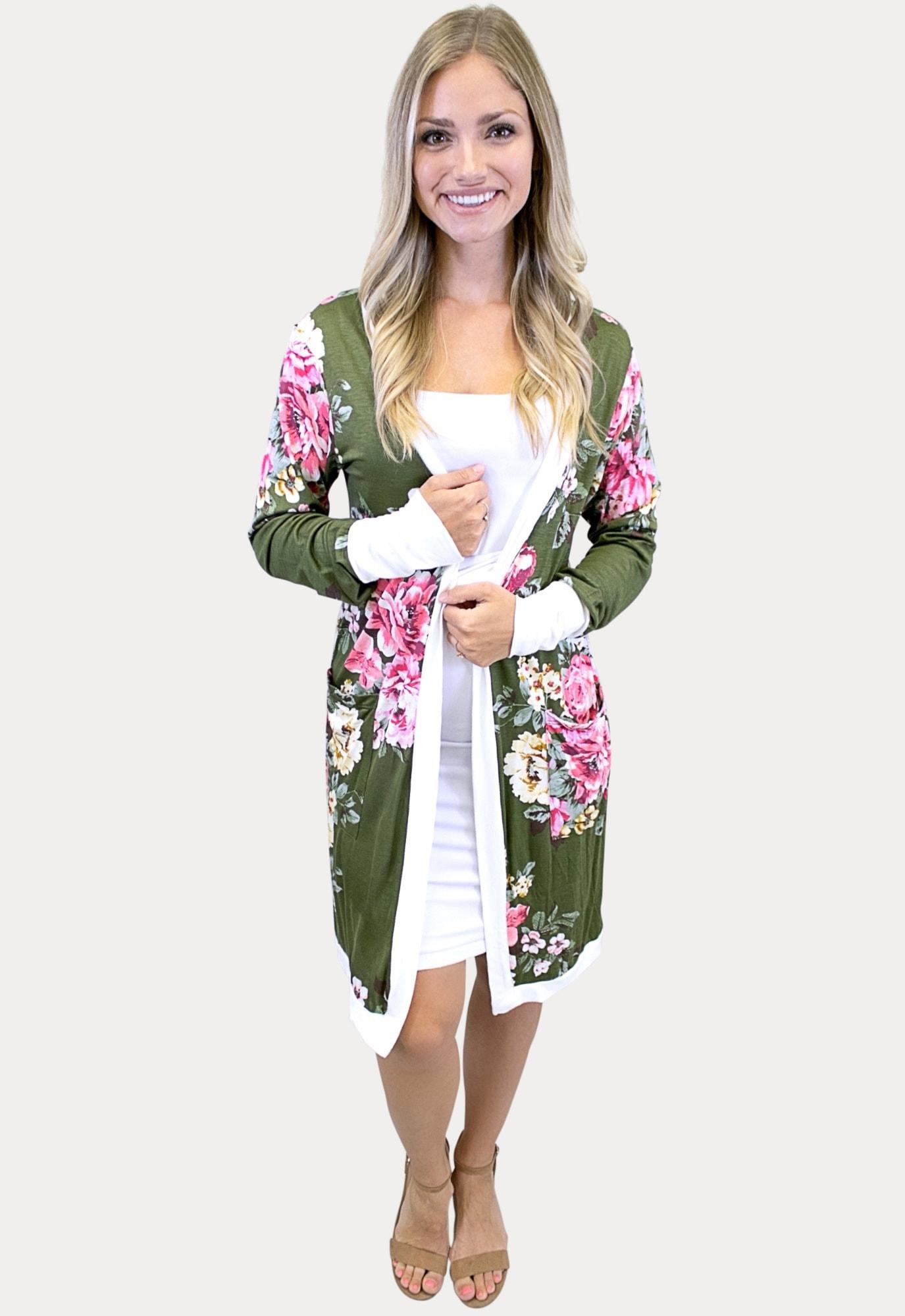 moss floral cardigan