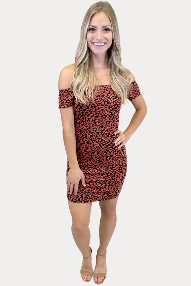 off the shoulder leopard dress