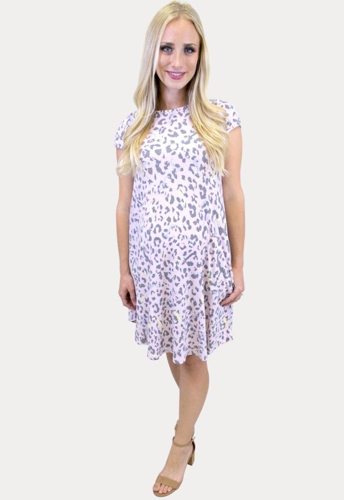 pink leopard maternity dress