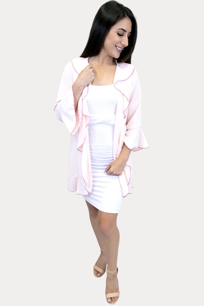 pink ruffle kimono