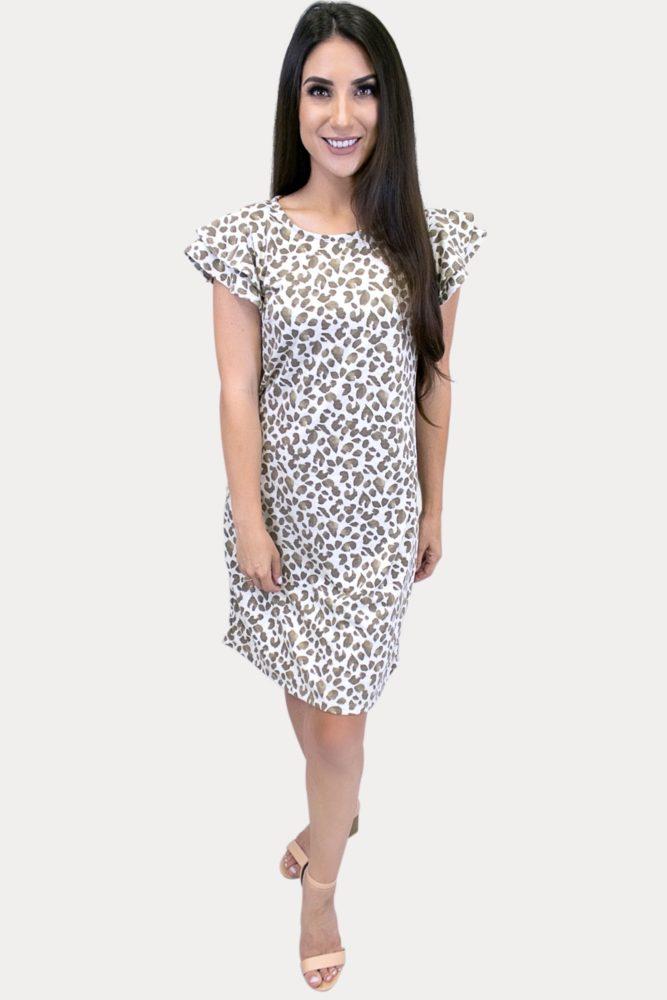 ruffle sleeve leopard dress
