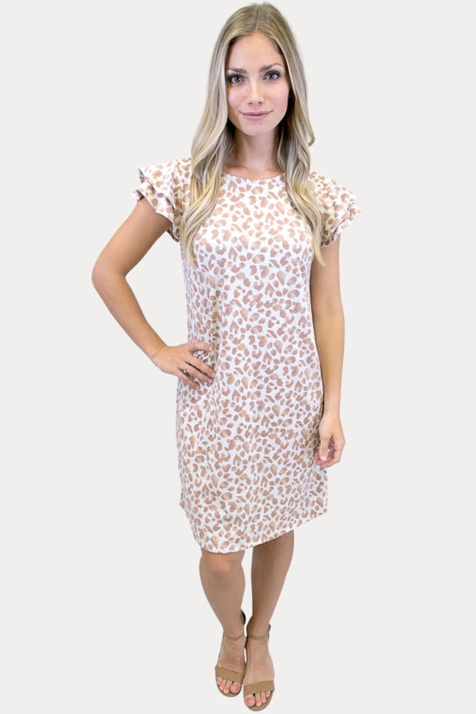 leopard ruffle sleeve dress