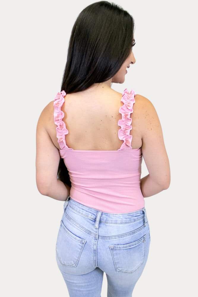 sleeveless ruffle bodysuit