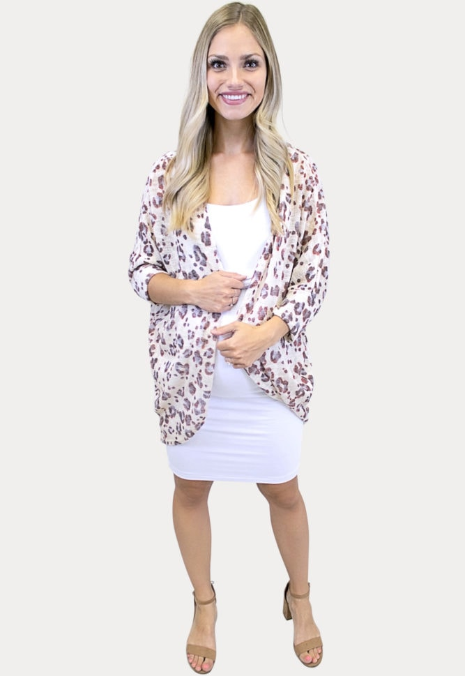 animal print maternity cardigan