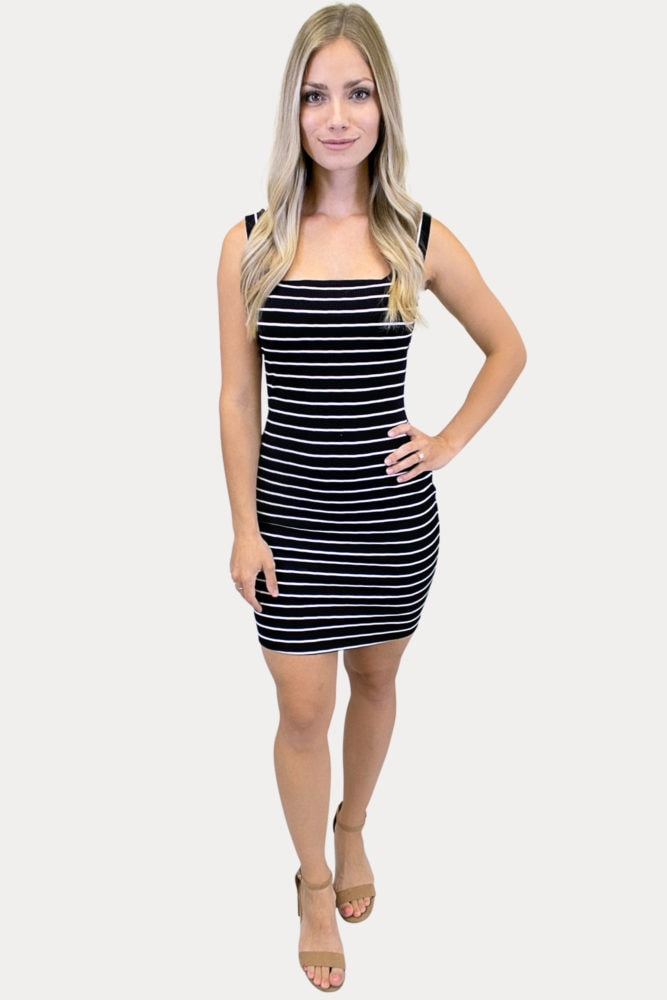sleeveless striped bodycon