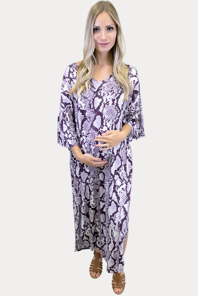 snake print maternity maxi dress