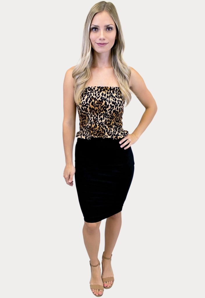 strapless leopard print outfit