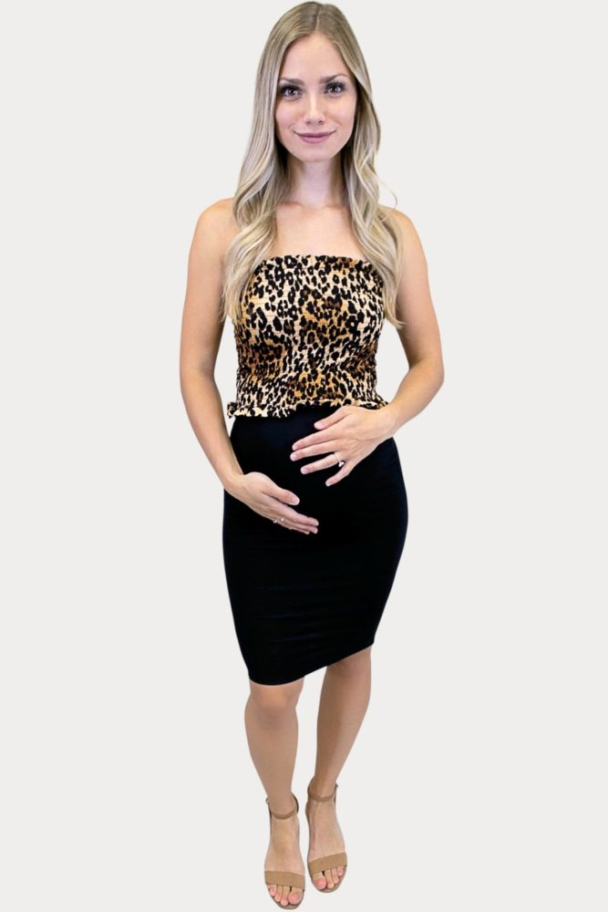 strapless leopard print maternity outfit