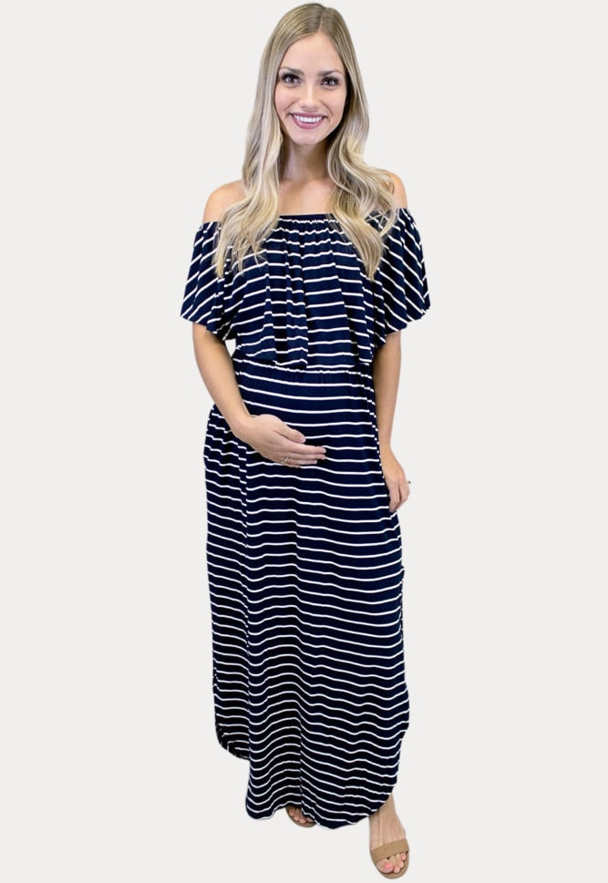 off shoulder striped maternity maxi