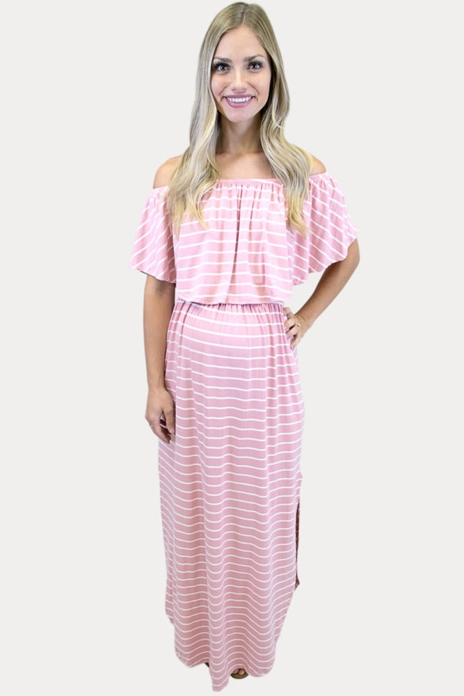 pink striped maternity maxi