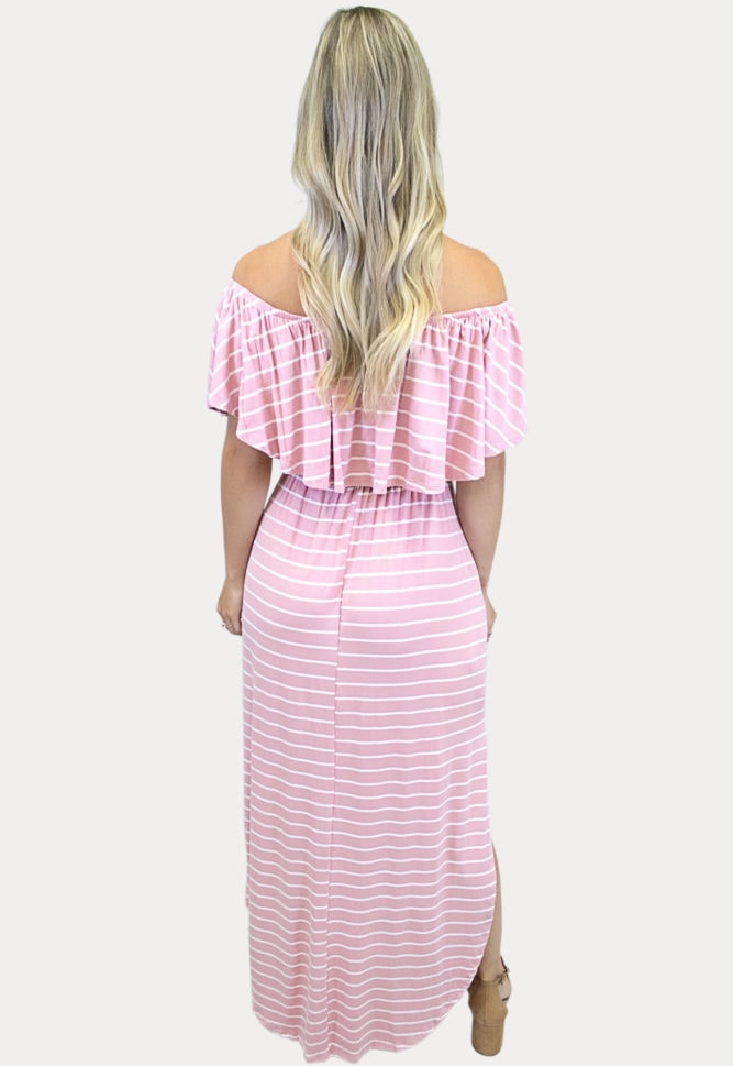 pink striped maternity maxi
