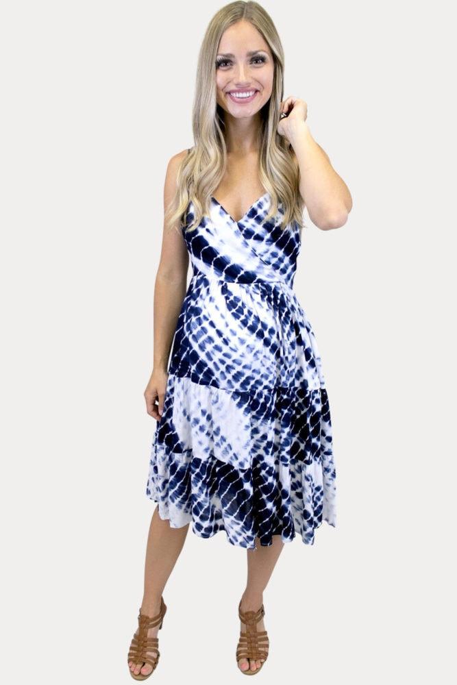 tie dye midi maternity dress