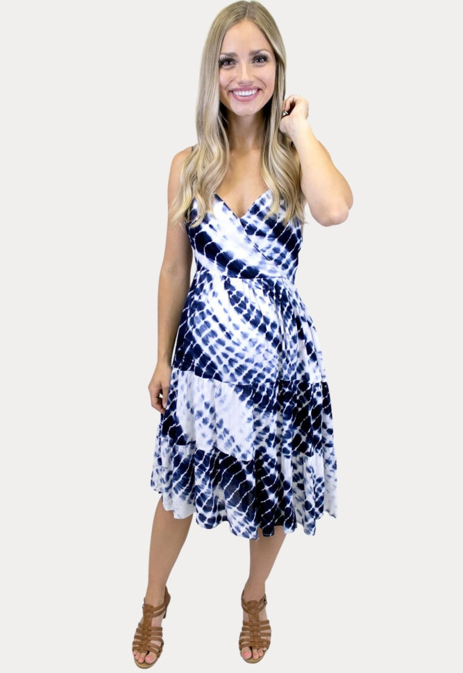 tie dye midi maternity dress