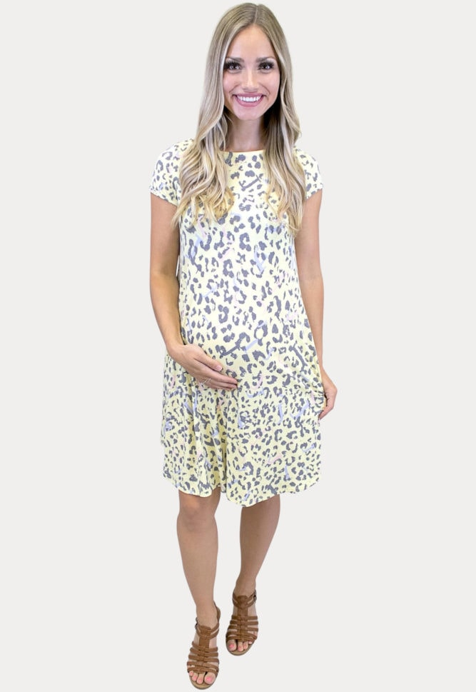yellow leopard maternity dress