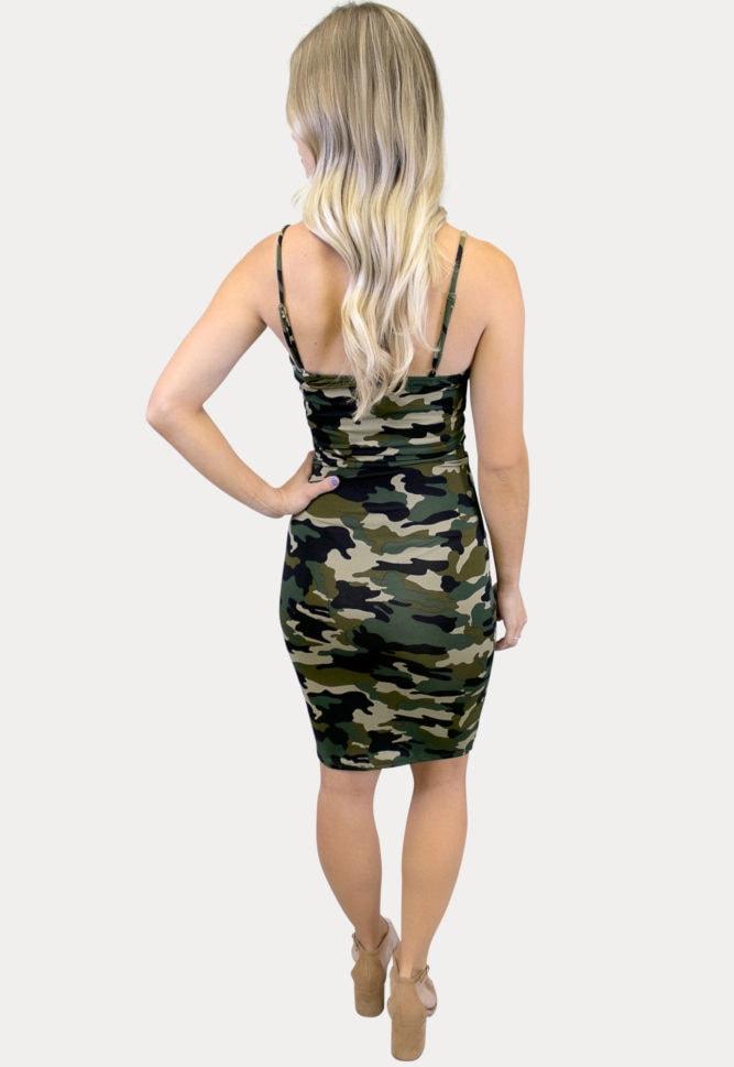 thin strap camo maternity dress