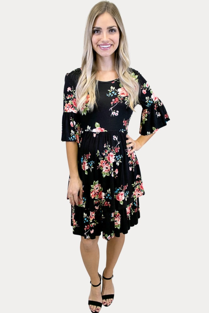 floral maternity dress with ruffles