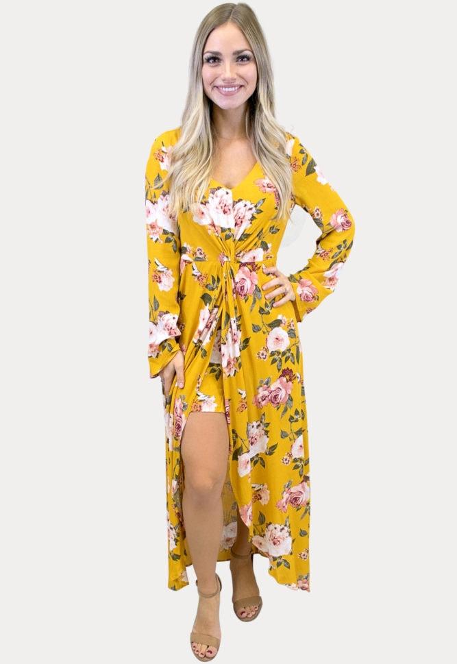 v-neck floral maxi