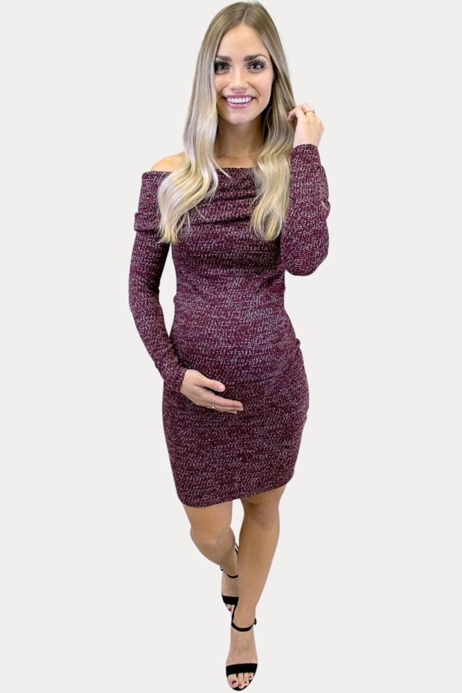 off shoulder maternity sweater dress