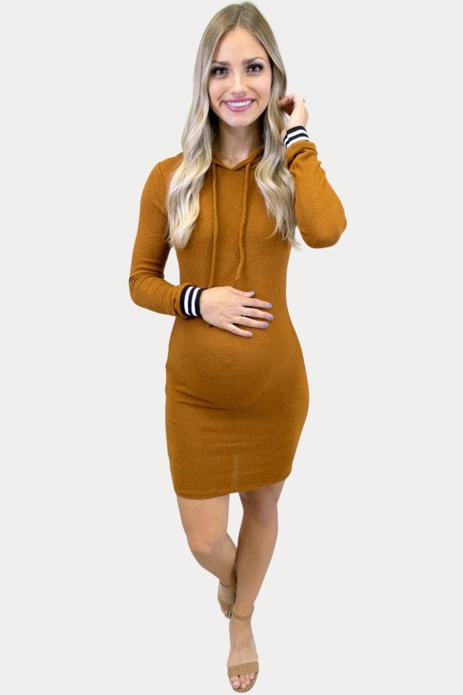 hooded long sleeve maternity dress