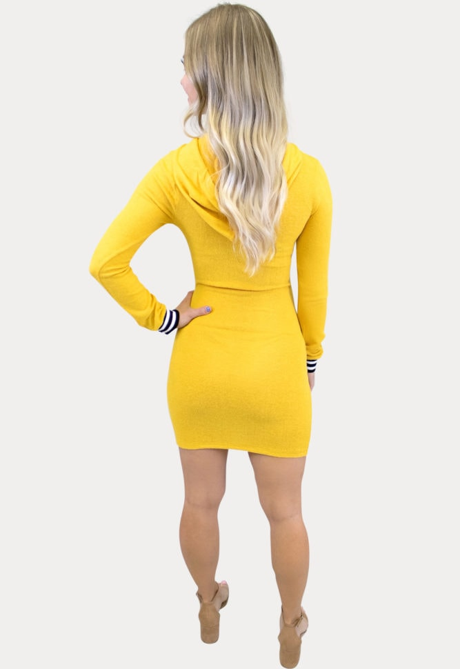 yellow long sleeve maternity dress