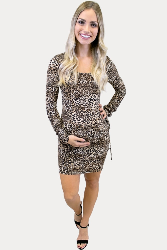 bodycon leopard maternity dress