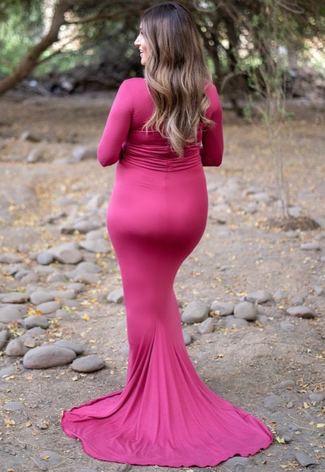 simple long sleeve maternity gown