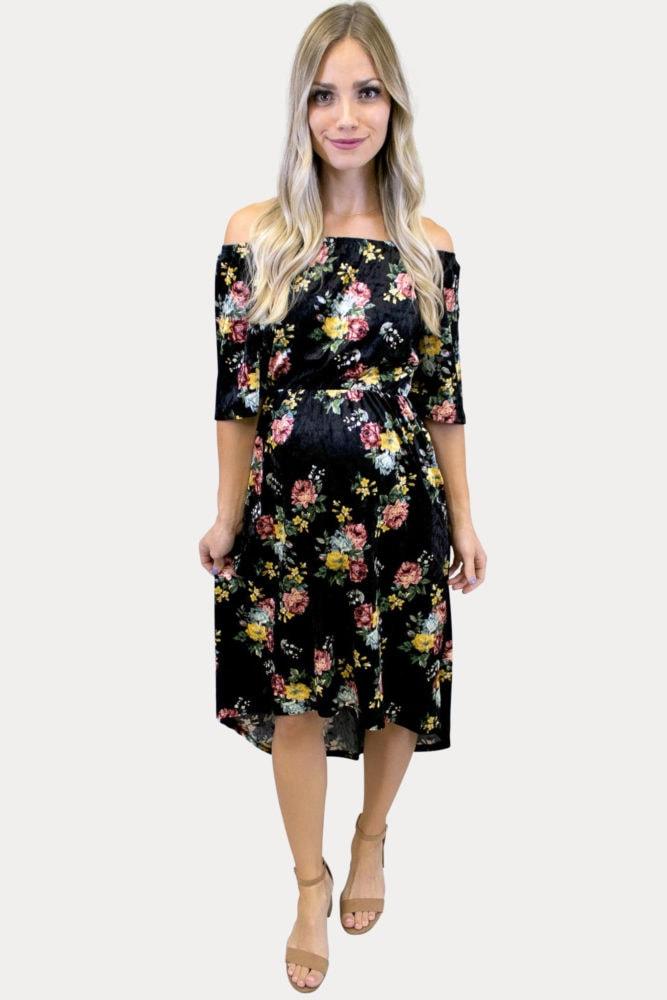 floral velvet maternity dress