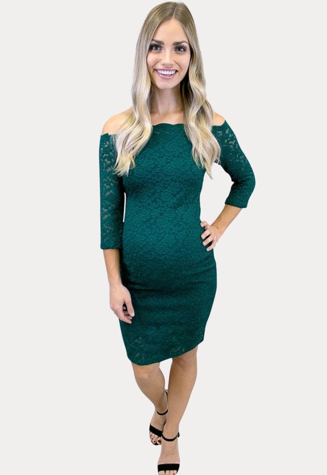 green lace maternity dress