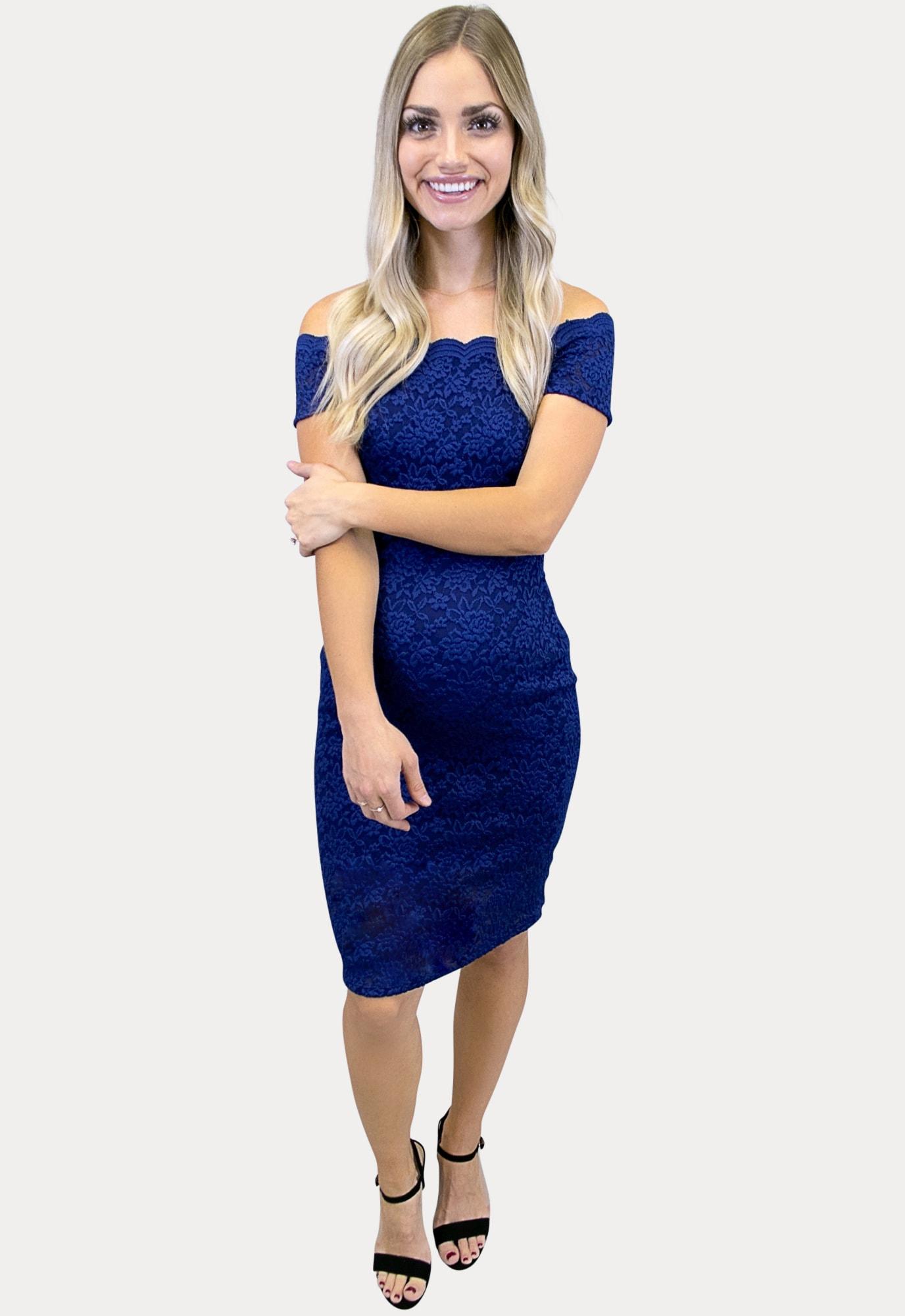 Navy Lace Maternity Dress Sexy Mama Maternity