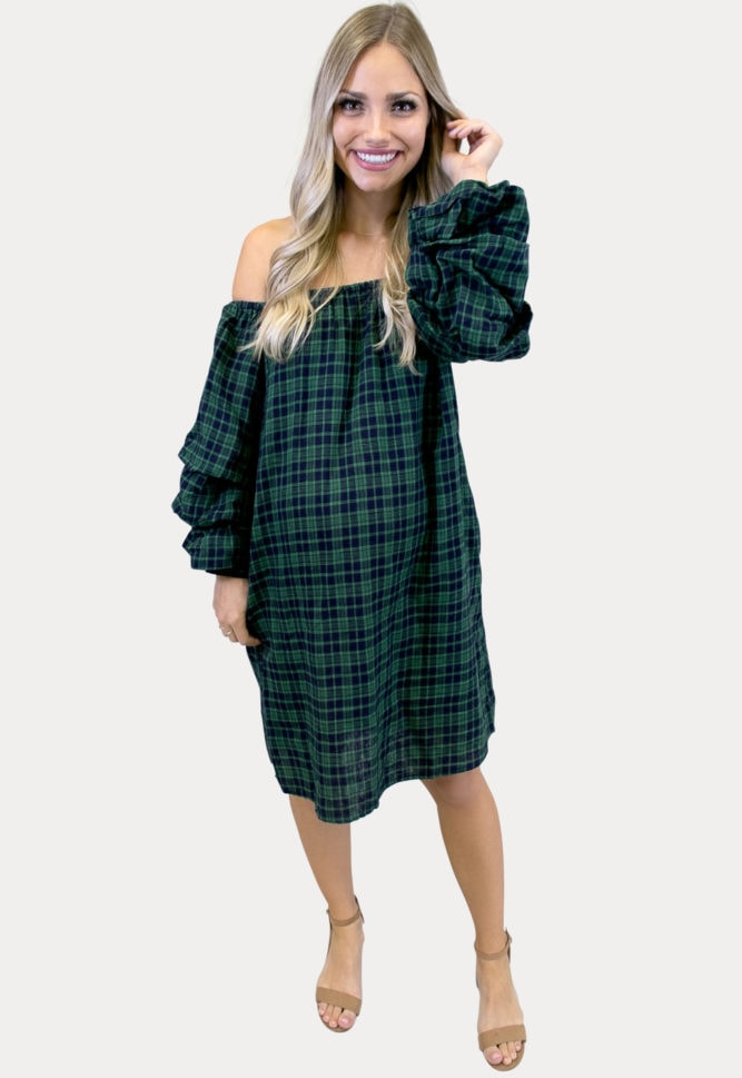 green plaid maternity dress