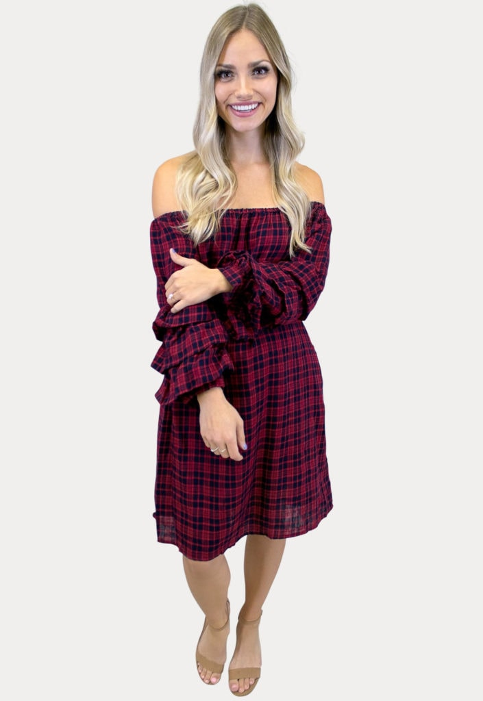 plaid maternity dress