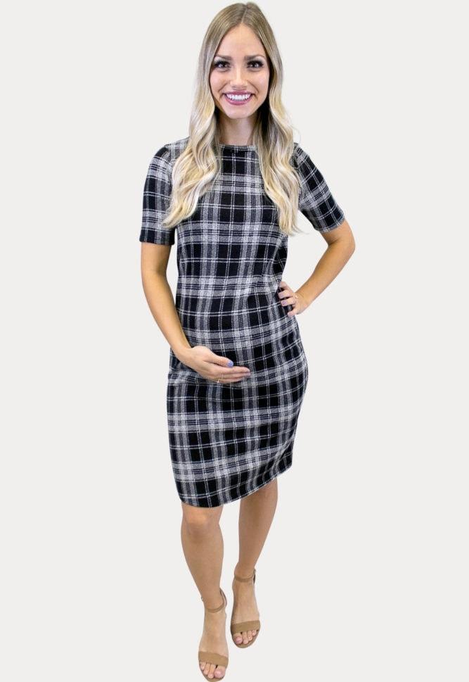 short sleeve plaid maternity dress