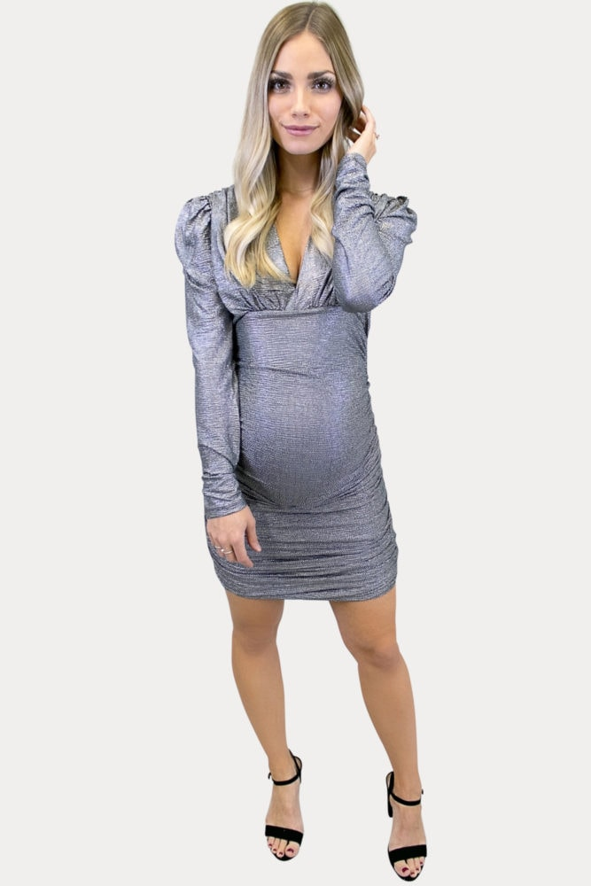silver maternity dress