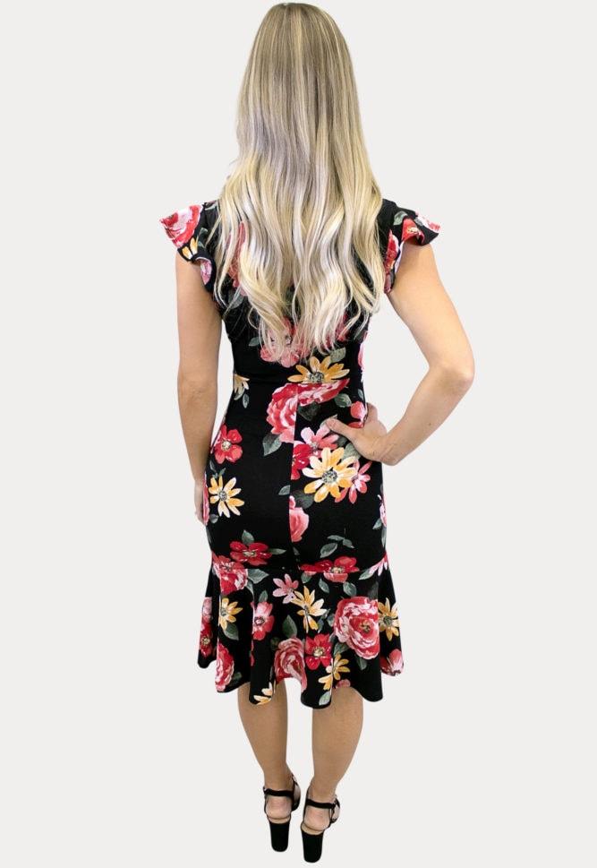 floral ruffle maternity dress