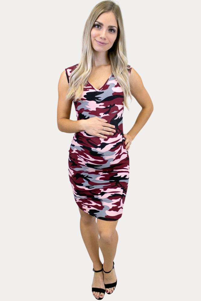 sleeveless camo maternity dress