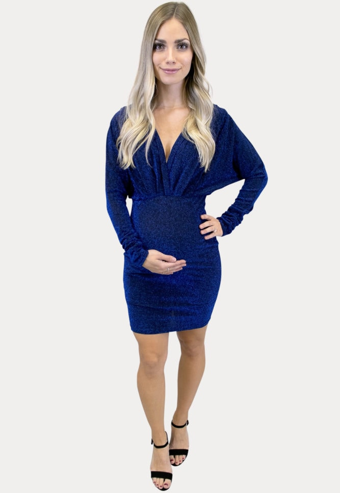 navy sparkly maternity dress