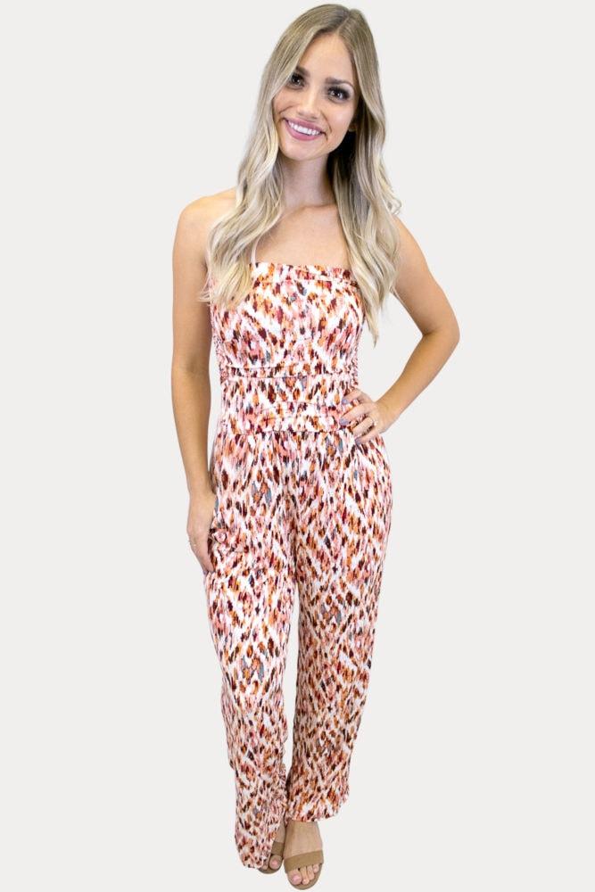 tribal print strapless jumper