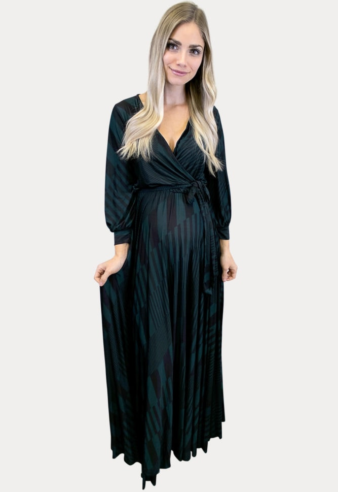 maternity maxi dress with stripes