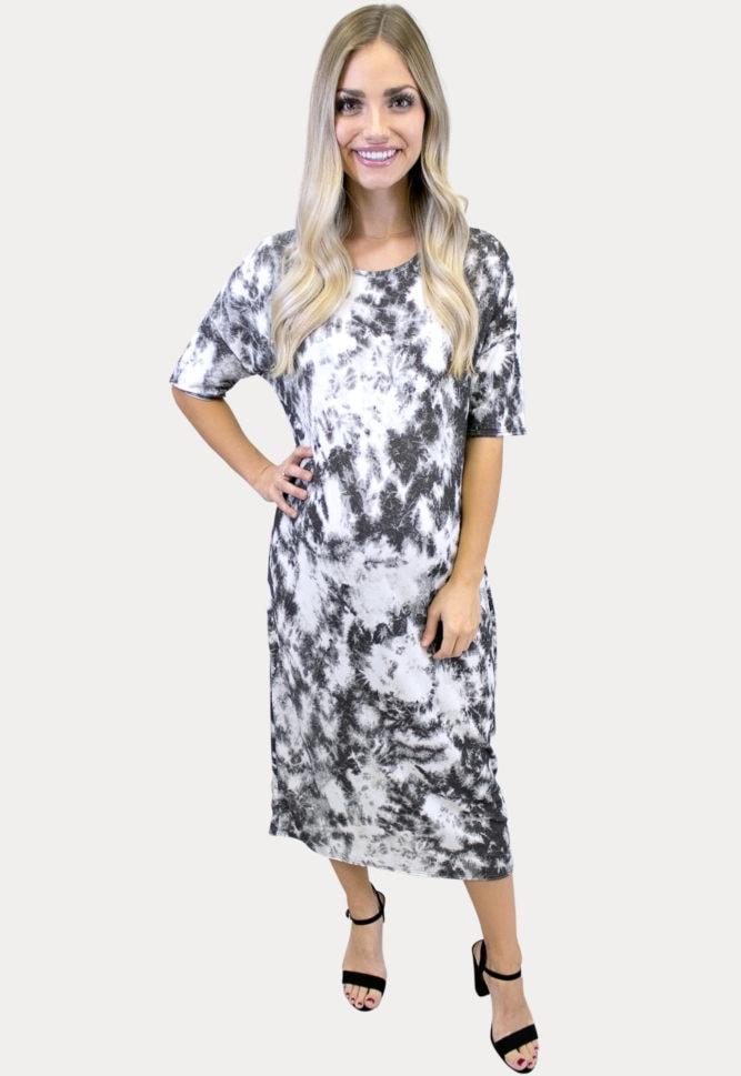 tie dye maternity midi dress