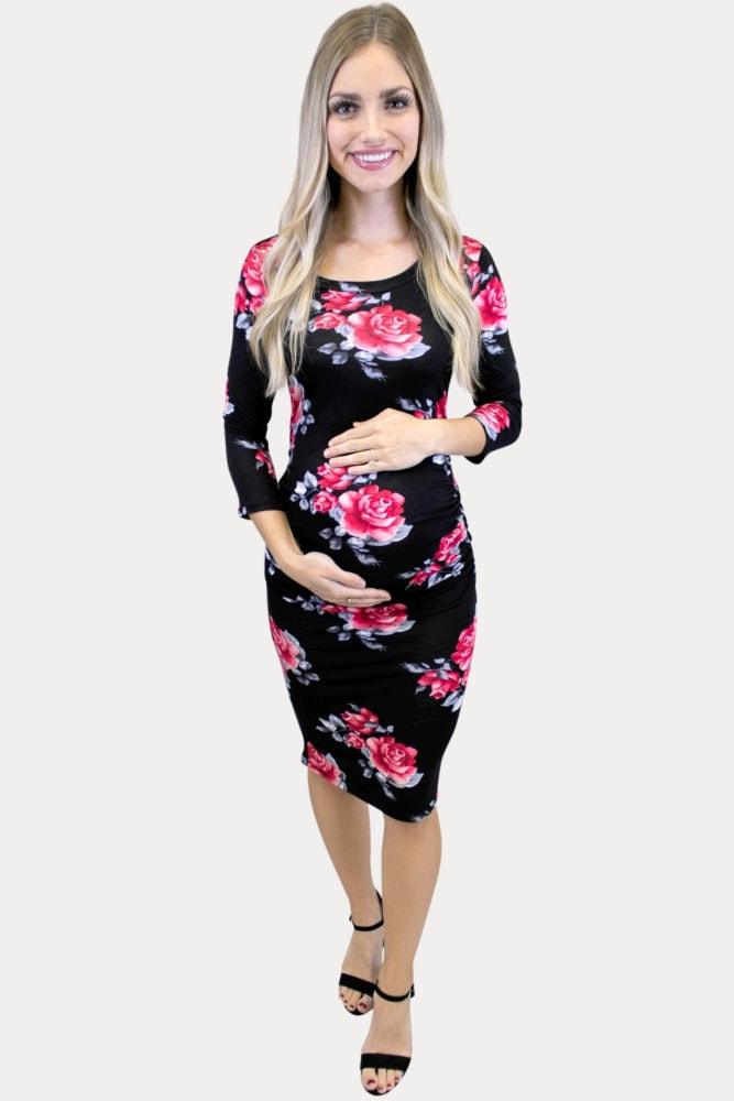 black floral maternity bodycon