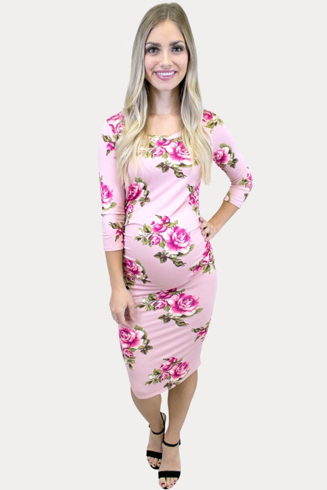 3/4 sleeve floral maternity dress