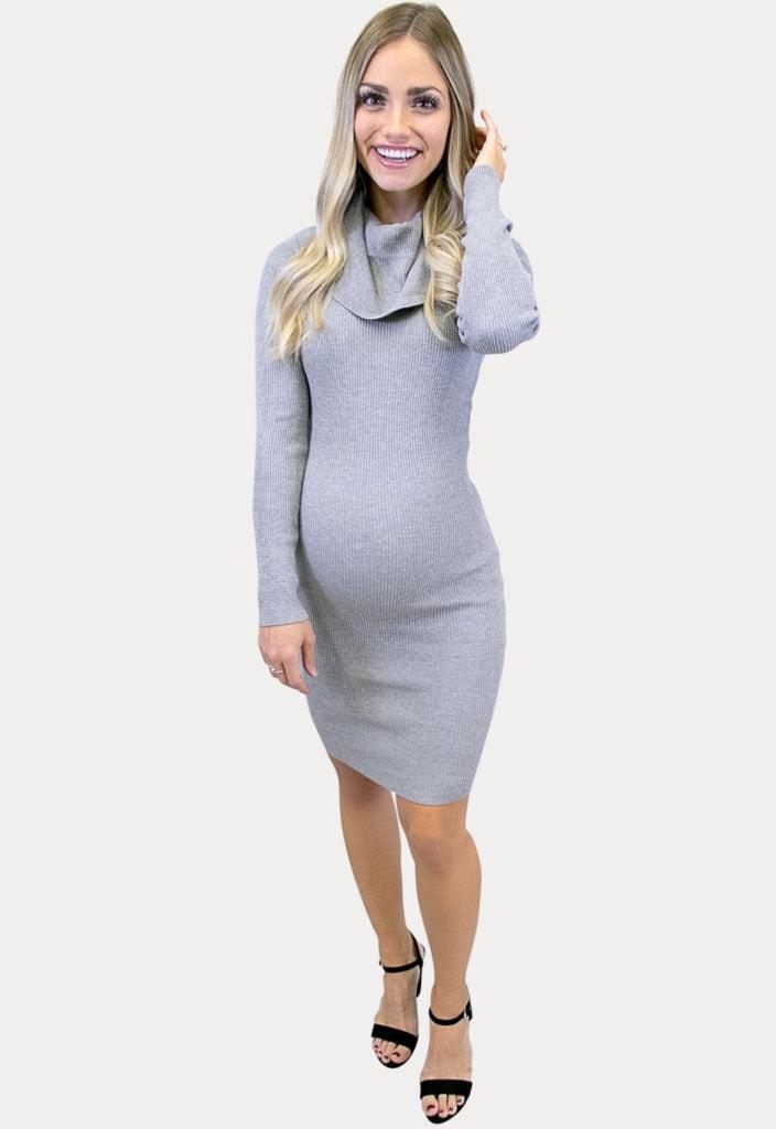 grey maternity sweater dress