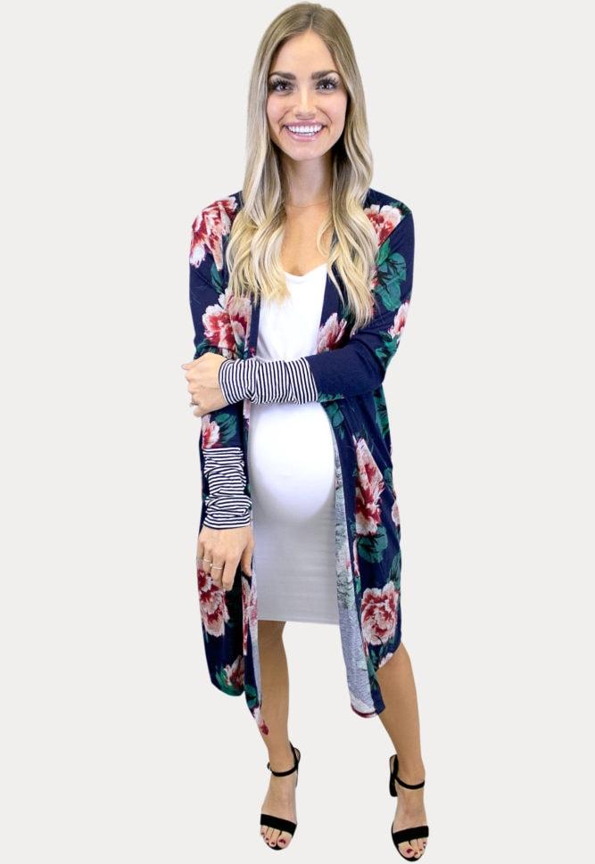 navy floral maternity cardigan